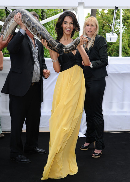 Mallika Sherawat with snake at Cannes 2010.jpg