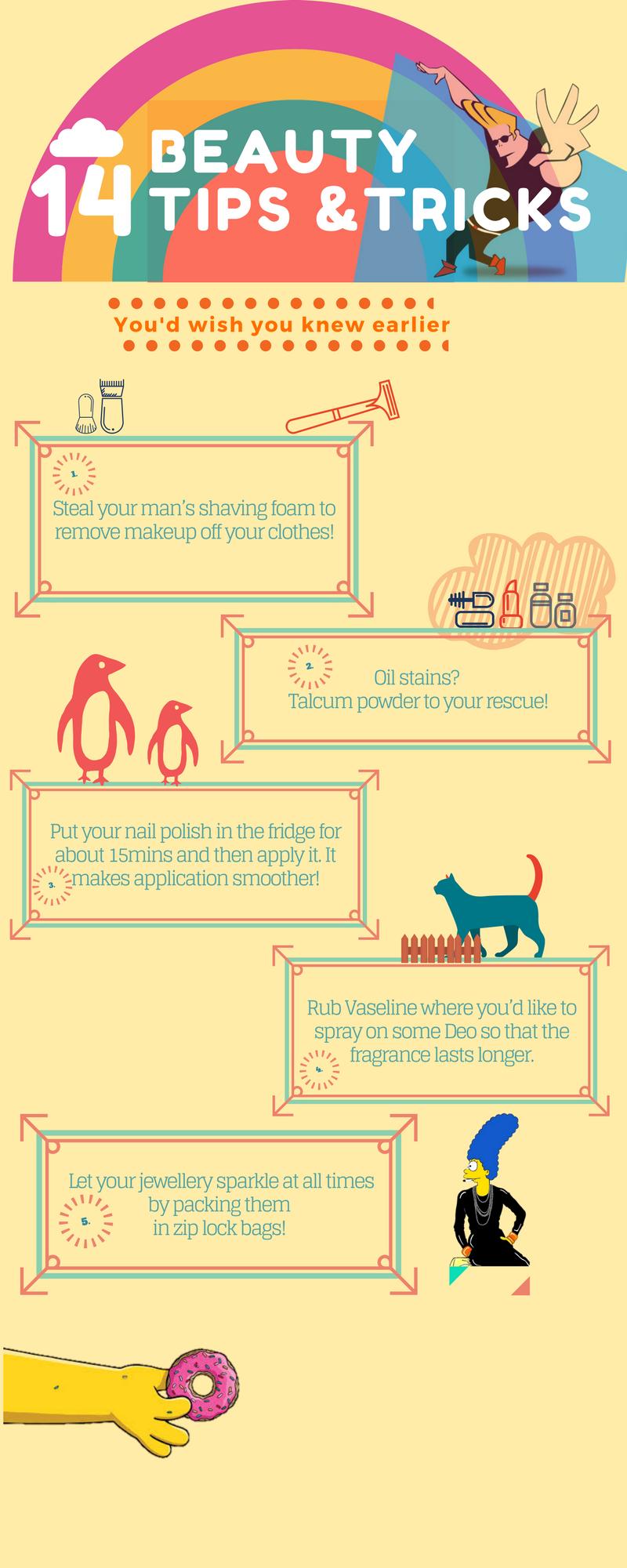 Easy Beauty tips hacks tricks infograpic